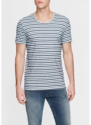 Mavi Çizgili Tişört İndigo